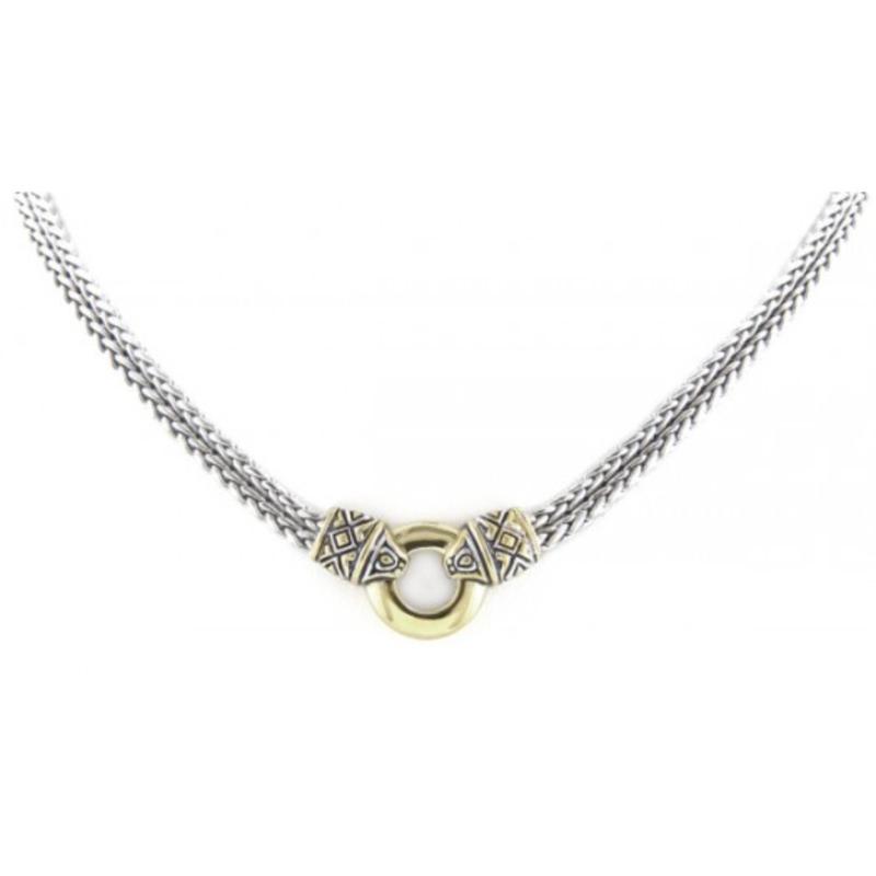 John Medeiros Antiqua Gold Circle Double Strand Necklace