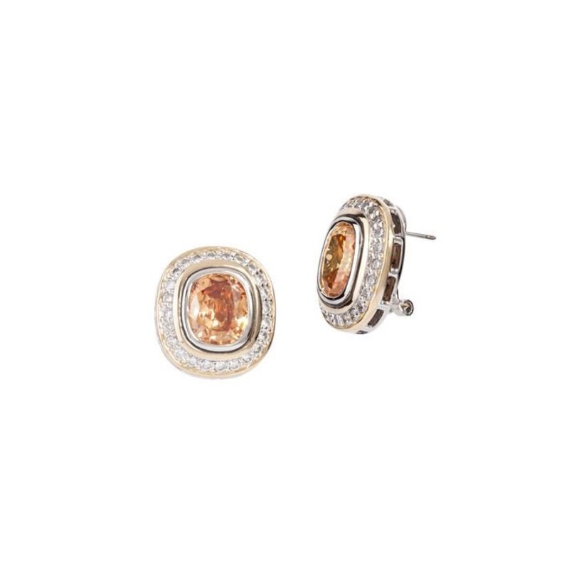 John Medeiros Nouveau Pave Accented Oval Post with Clip Earrings