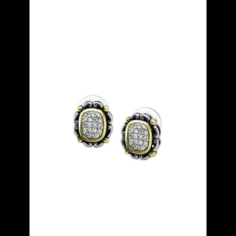 John Medeiros Simplicity Pave Antiqua Oval Earrings