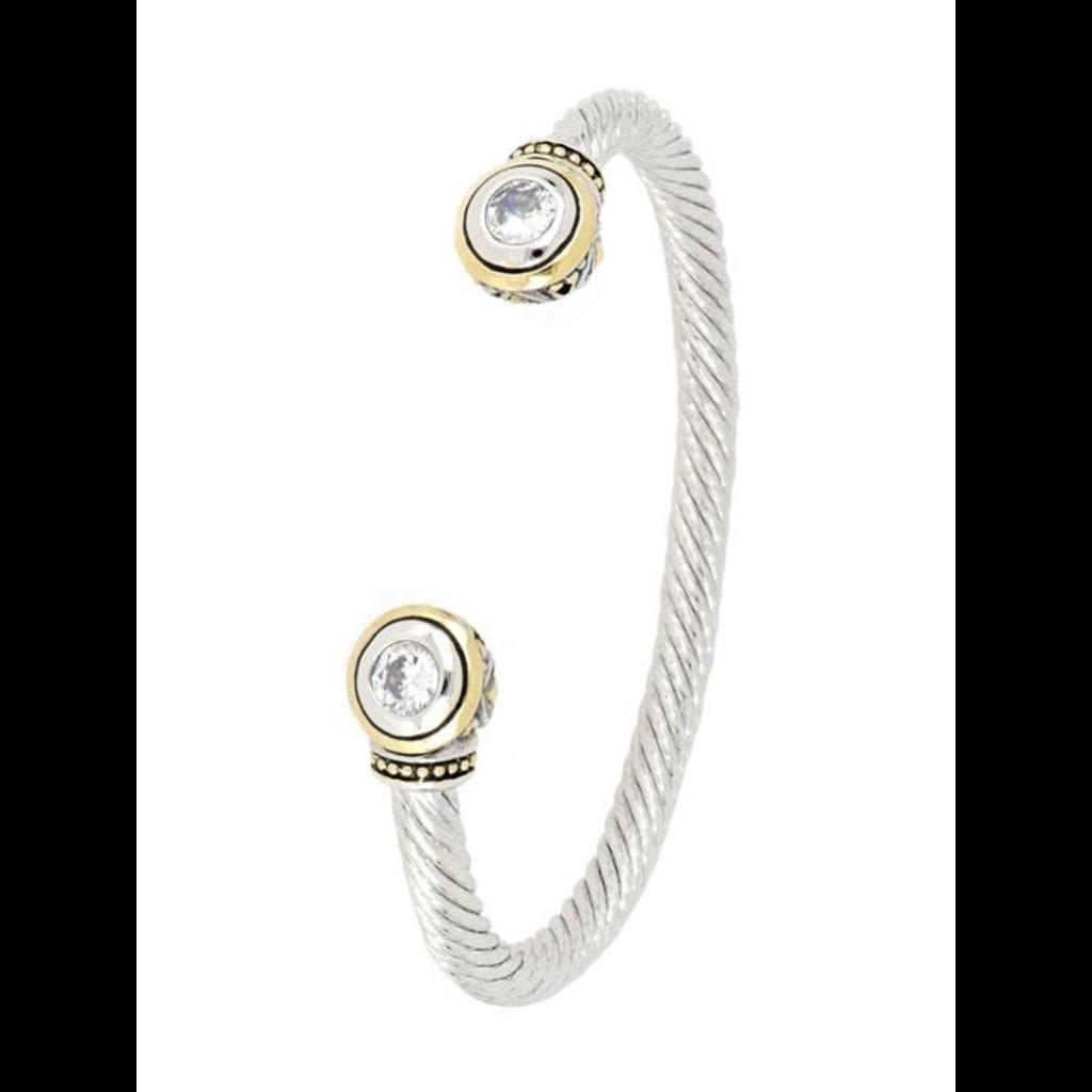 John Medeiros - Beijos 2 Stone Large Cuff Bracelet