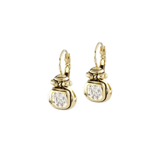 John Medeiros - Anvil Gold & Pave French Wire Earrings