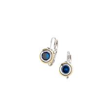 John Medeiros John Medeiros - Beijos CZ Bezel Set Sapphire Earrings - 6mm