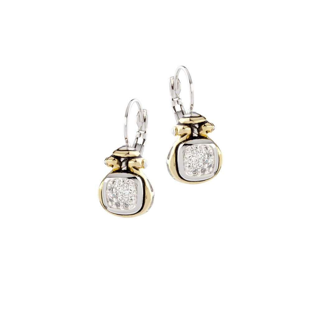 John Medeiros - Anvil Pave Two Tone French Wire Earring