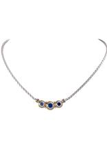 John Medeiros - Beijos Three Stone CZ Necklace/Sapphire