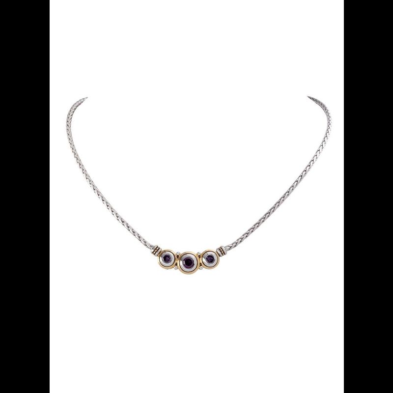 John Medeiros Beijos Three Stone CZ Necklace - Amethyst
