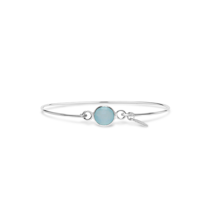 Stia Stia 8mm Birthstone Bracelet - Aqua Chalcedony/March