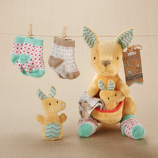 Kangarooties Plush Plus Kangaroo w/ Rattle & Socks