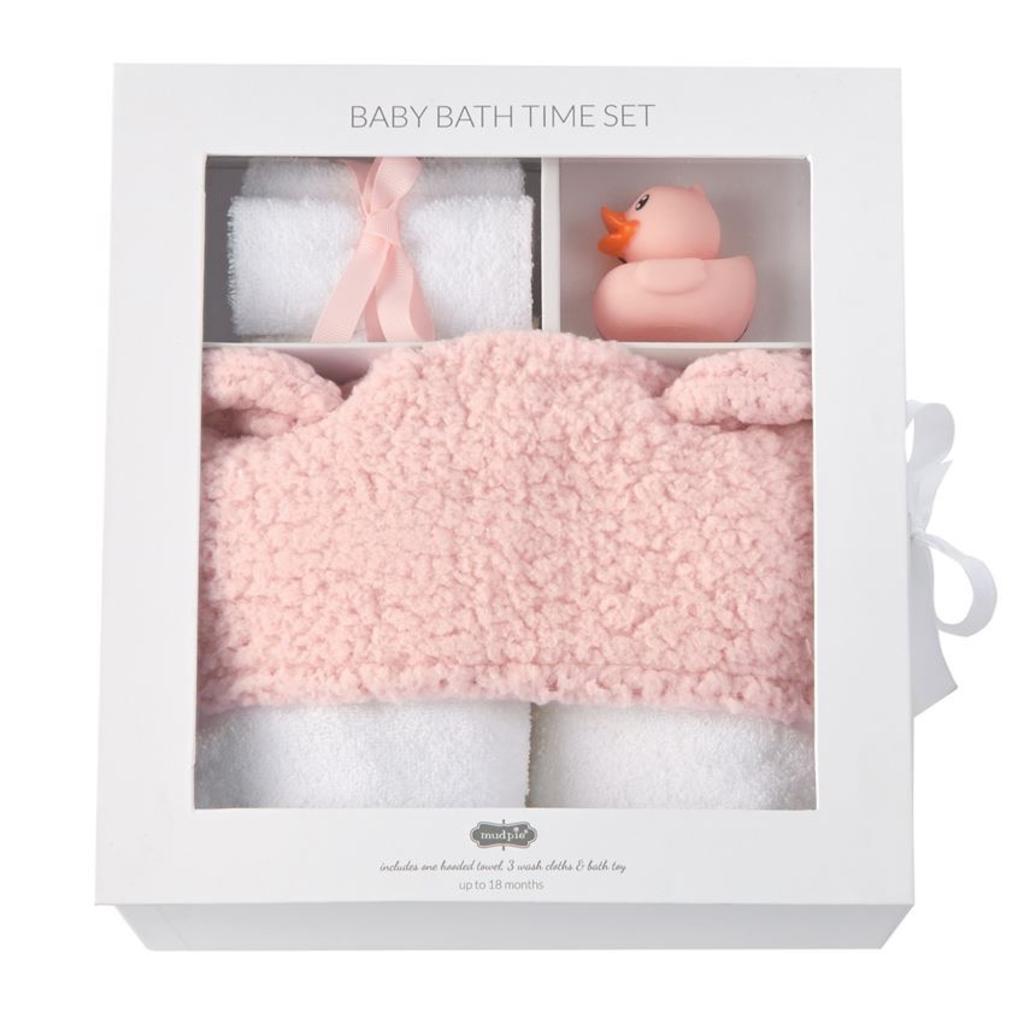 Mud Pie Pink Baby Bath Time Gift Set