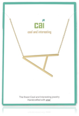 Cool and Interesting - Gold Plated Medium Sideways Initial Necklace - A