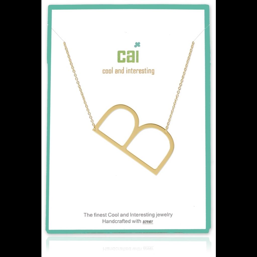 Cool and Interesting Cool and Interesting - Gold Plated Medium Sideways Initial Necklace - B