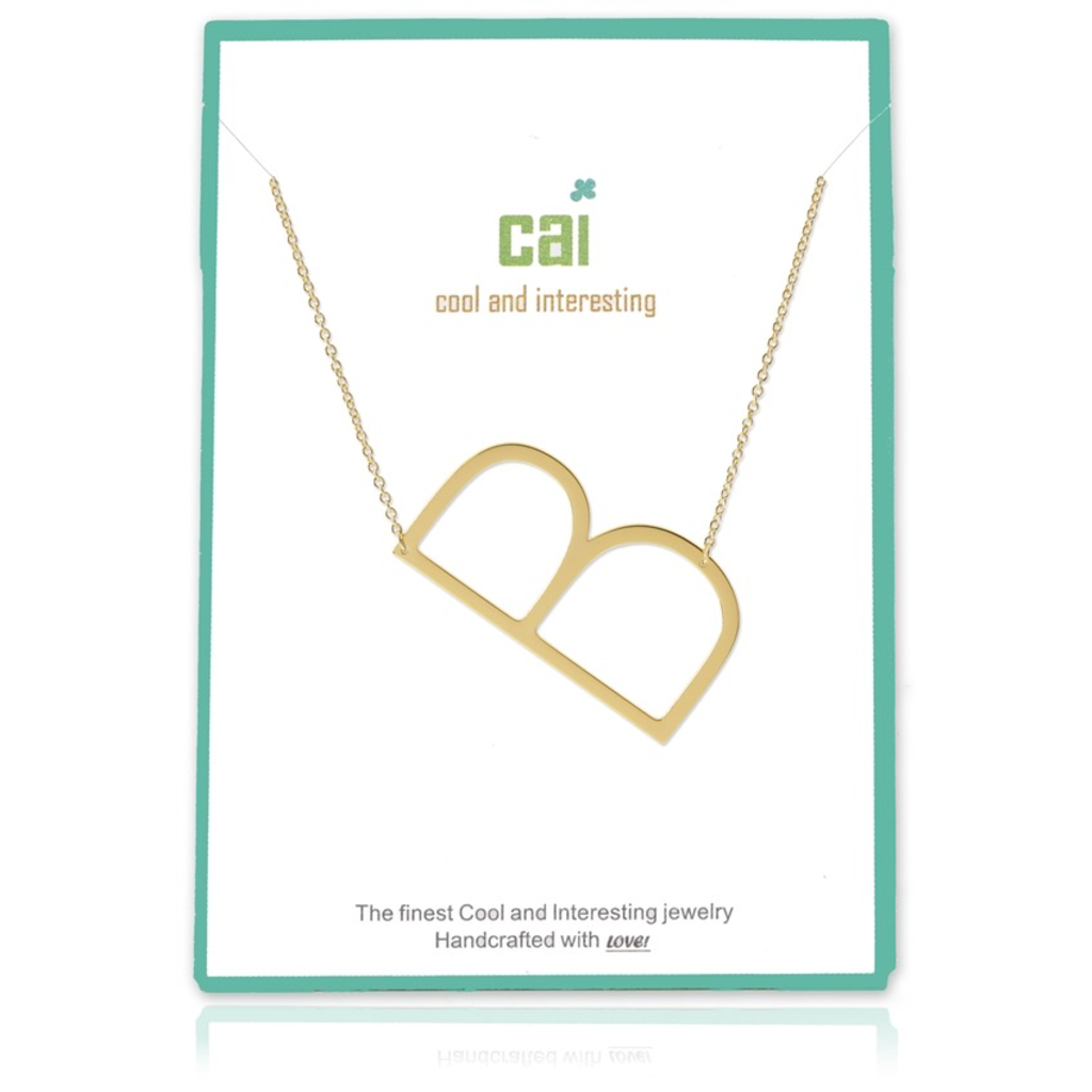 Cool and Interesting - Gold Plated Medium Sideways Initial Necklace - B