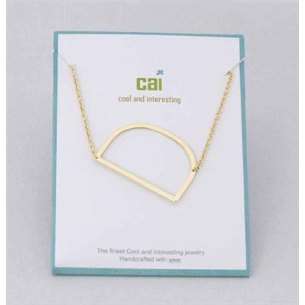 Cool and Interesting Cool and Interesting - Gold Plated Medium Sideways Initial Necklace - D