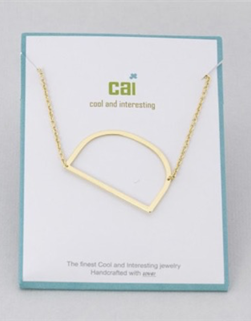 Cool and Interesting - Gold Plated Medium Sideways Initial Necklace - D