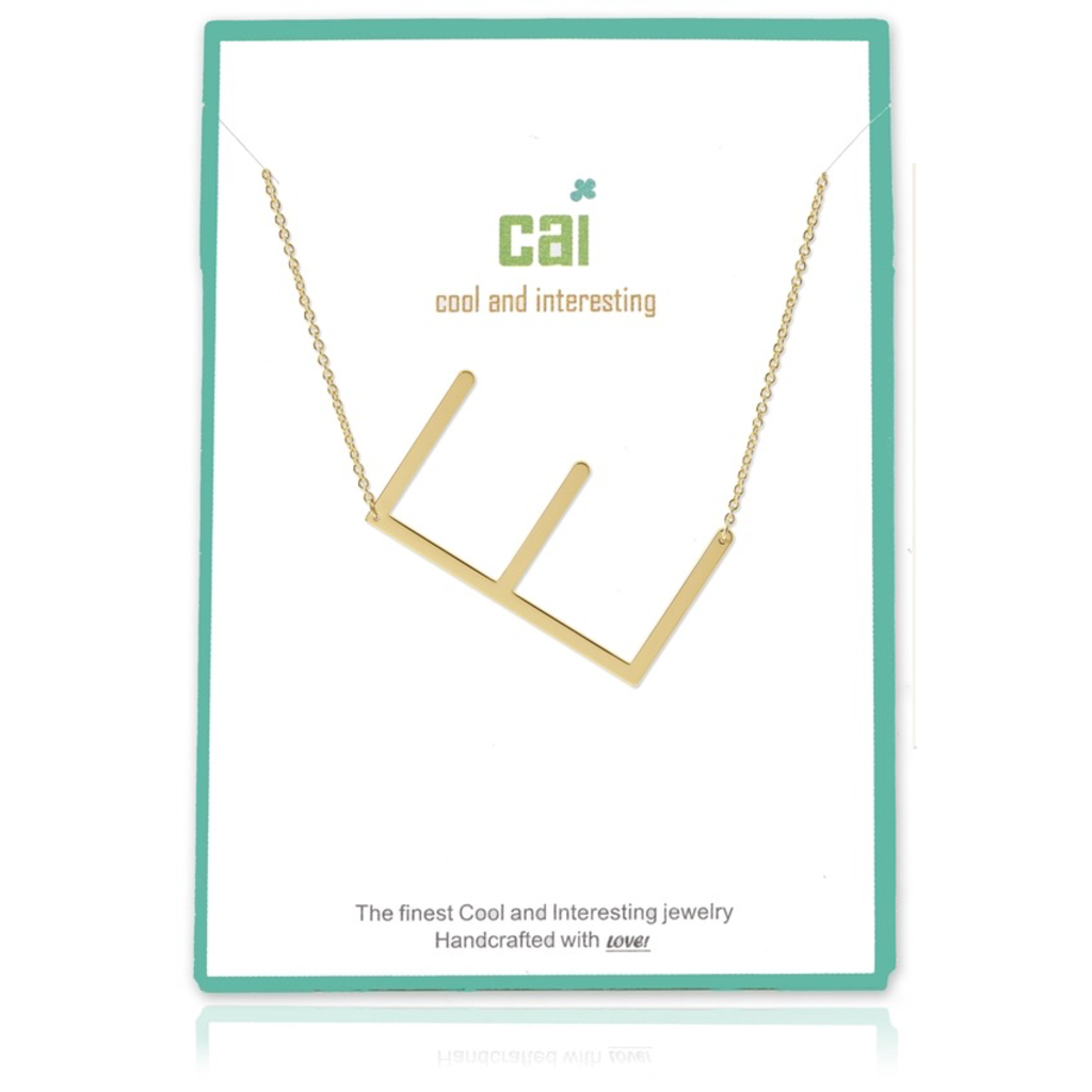 Cool and Interesting - Gold Plated Medium Sideways Initial Necklace - E