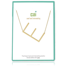 Cool and Interesting Cool and Interesting - Gold Plated Medium Sideways Initial Necklace - E