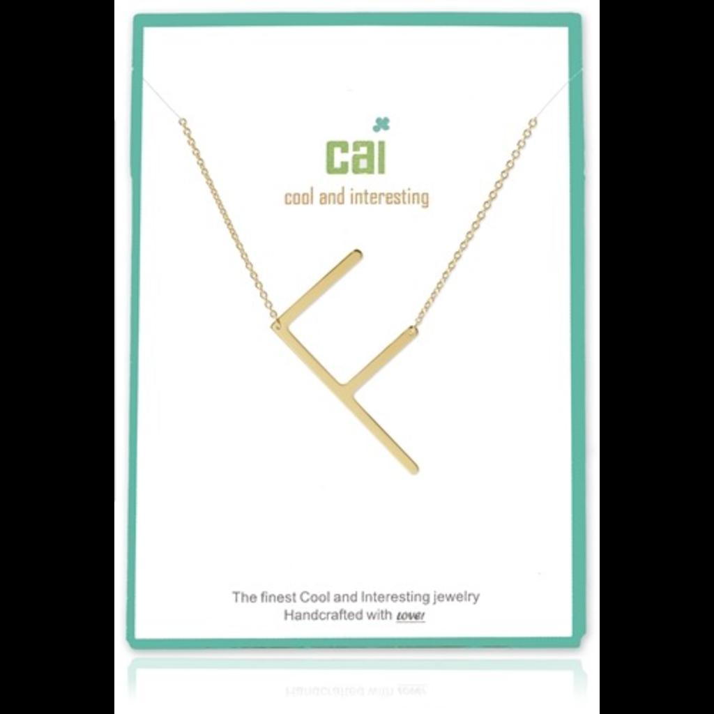 Cool and Interesting Cool and Interesting - Gold Plated Medium Sideways Initial Necklace - F