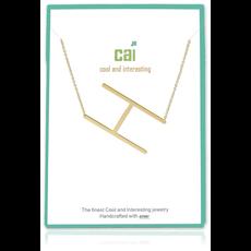 Cool and Interesting Cool and Interesting - Gold Plated Medium Sideways Initial Necklace - H