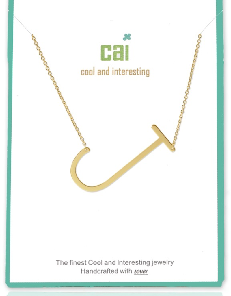 Cool and Interesting - Gold Plated Medium Sideways Initial Necklace - J