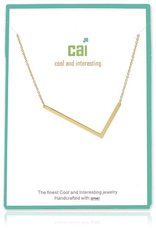 Cool and Interesting - Gold Plated Medium Sideways Initial Necklace - L