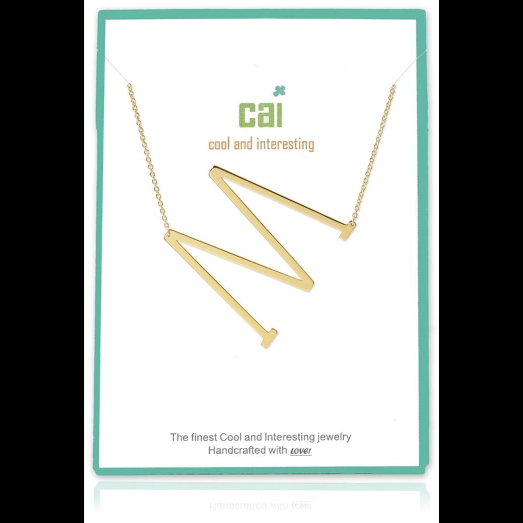 Cool and Interesting Cool and Interesting - Gold Plated Medium Sideways Initial Necklace - M