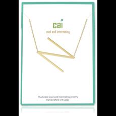 Cool and Interesting Cool and Interesting - Gold Plated Medium Sideways Initial Necklace - N