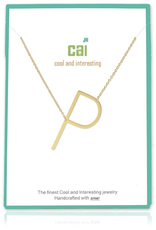 Cool and Interesting - Gold Plated Medium Sideways Initial Necklace - P