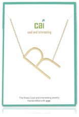 Cool and Interesting - Gold Plated Medium Sideways Initial Necklace - R