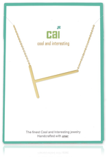 Cool and Interesting - Gold Plated Medium Sideways Initial Necklace - T
