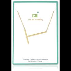 Cool and Interesting Cool and Interesting - Gold Plated Medium Sideways Initial Necklace - T