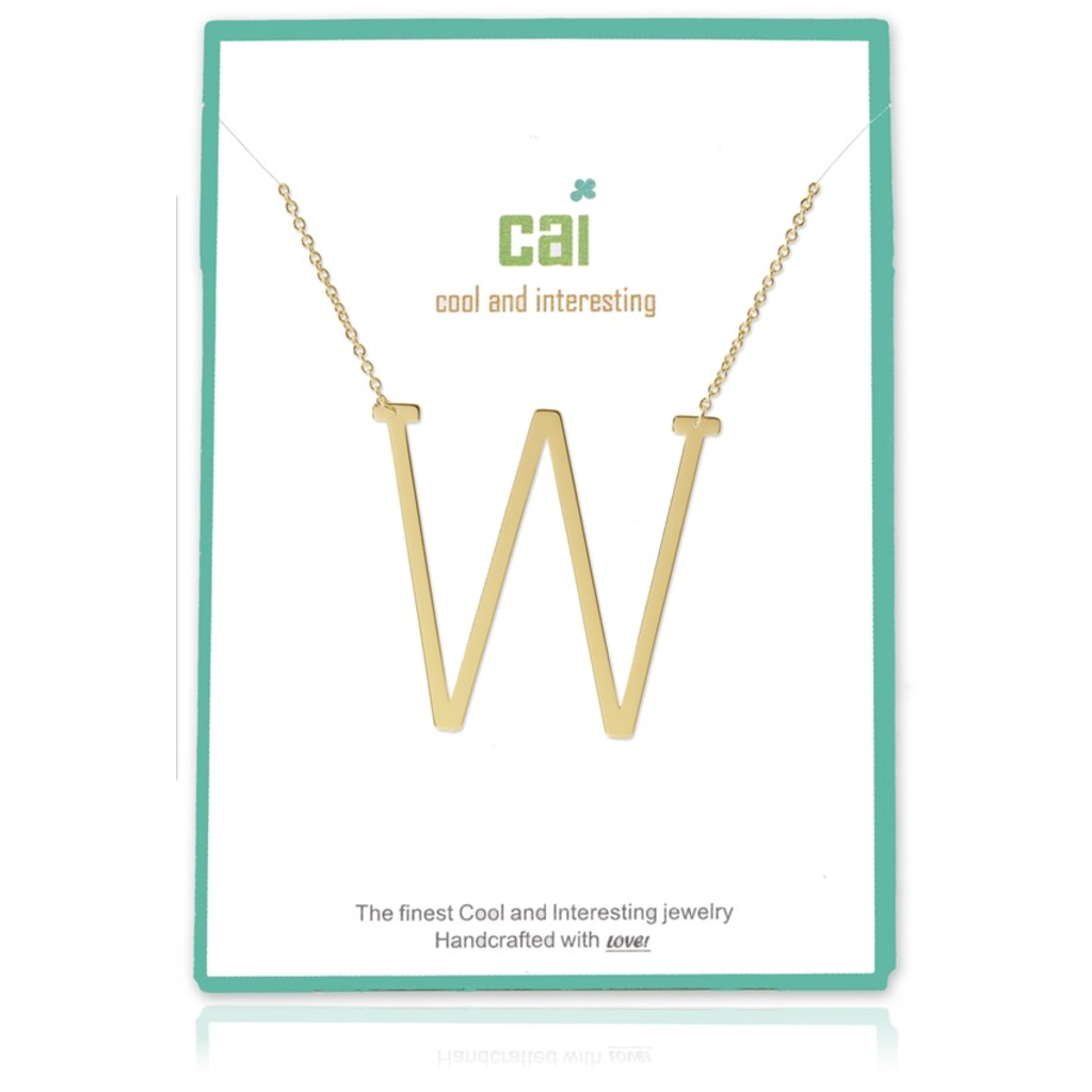 Cool and Interesting - Gold Plated Medium Sideways Initial Necklace - W