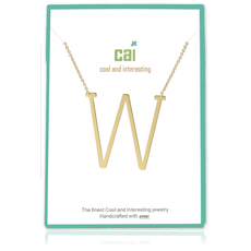Cool and Interesting Cool and Interesting - Gold Plated Medium Sideways Initial Necklace - W
