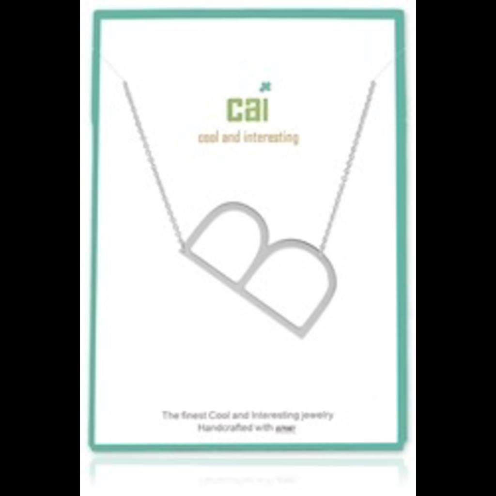Cool and Interesting Cool and Interesting - Silver Plated Medium Sideways Initial Necklace - B