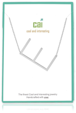Cool and Interesting - Silver Plated Medium Sideways Initial Necklace - E