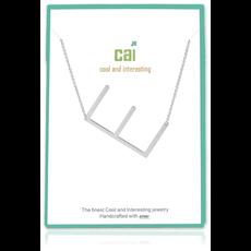 Cool and Interesting Cool and Interesting - Silver Plated Medium Sideways Initial Necklace - E