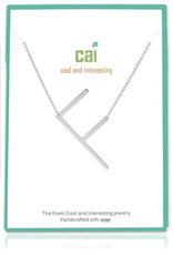 Cool and Interesting - Silver Plated Medium Sideways Initial Necklace - F