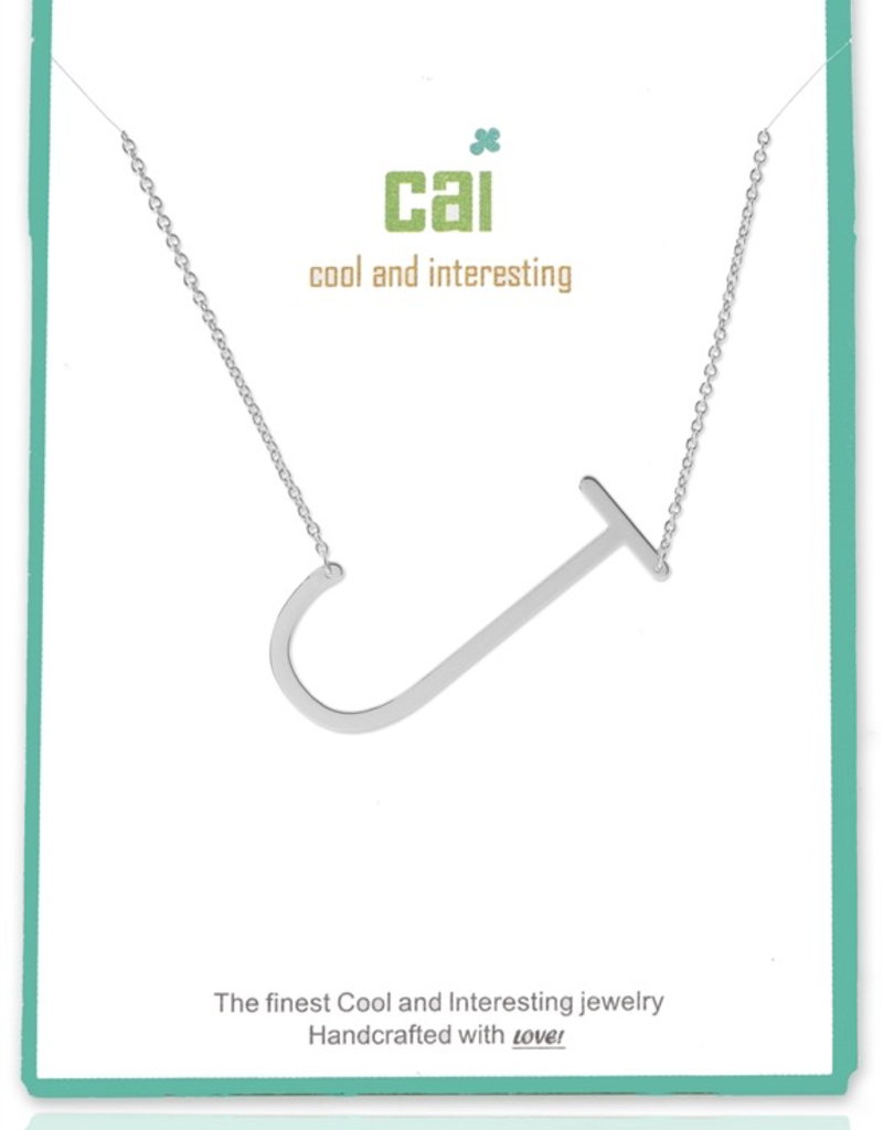 Cool and Interesting - Silver Plated Medium Sideways Initial Necklace - J