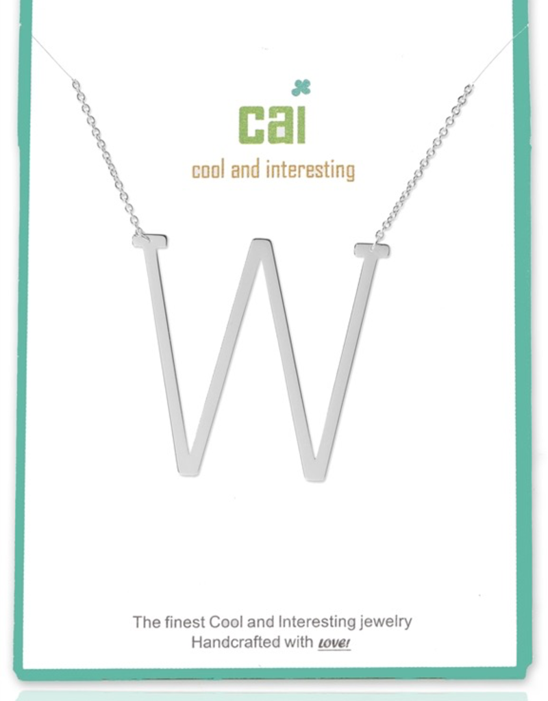 Cool and Interesting - Silver Plated Medium Sideways Initial Necklace - W