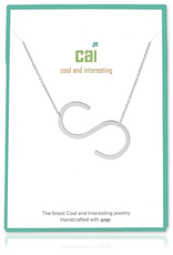 Cool and Interesting - Silver Plated Medium Sideways Initial Necklace - S