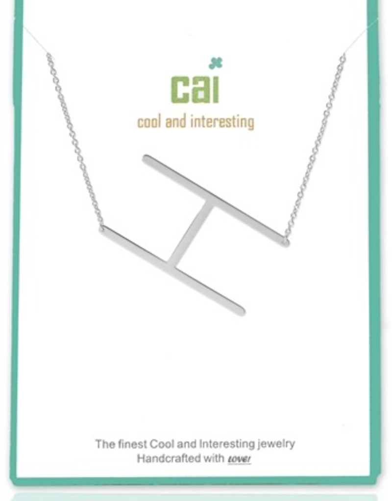 Cool and Interesting - Silver Plated Medium Sideways Initial Necklace - H
