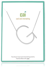 Cool and Interesting - Silver Plated Medium Sideways Initial Necklace - G