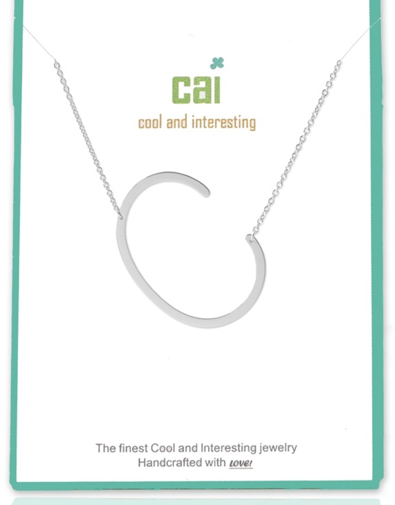 Cool and Interesting - Silver Plated Medium Sideways Initial Necklace - C