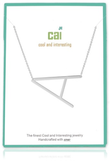 Cool and Interesting - Silver Plated Medium Sideways Initial Necklace - A