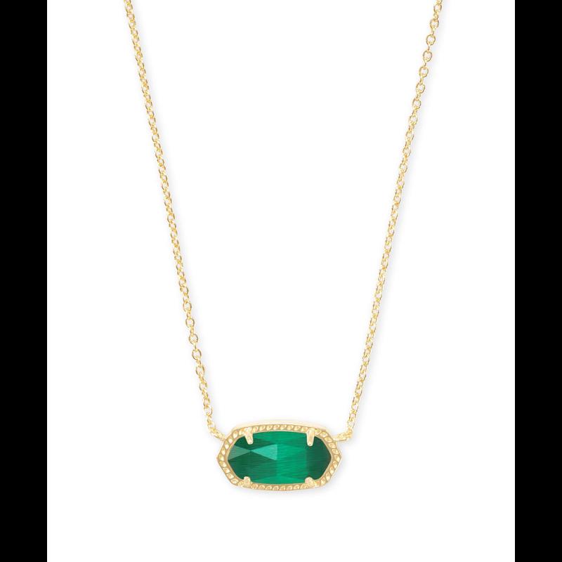 Kendra Scott Elisa Necklace in Gold Emerald Cats Eye