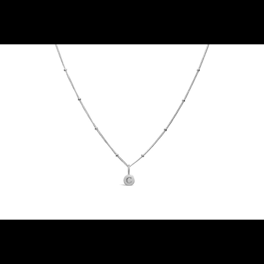 Stia Jewelry Love Letters - Mini Disk Letter Necklace/C