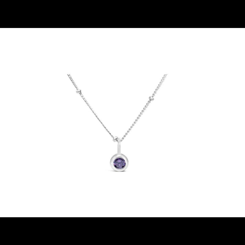 Stia Stia Jewelry CZ Bezel Necklace - Amethyst/February
