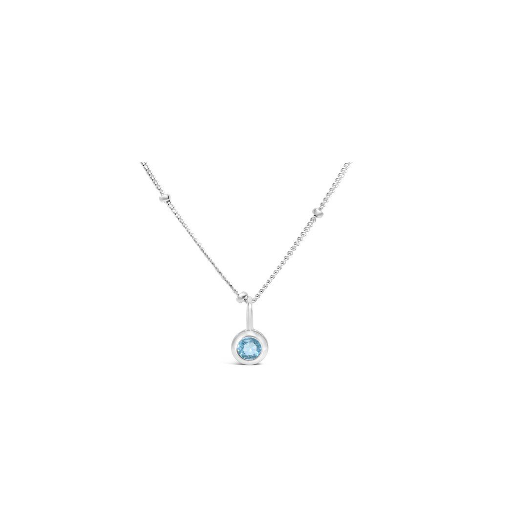 Stia Jewelry CZ Bezel Necklace - Aquamarine/March