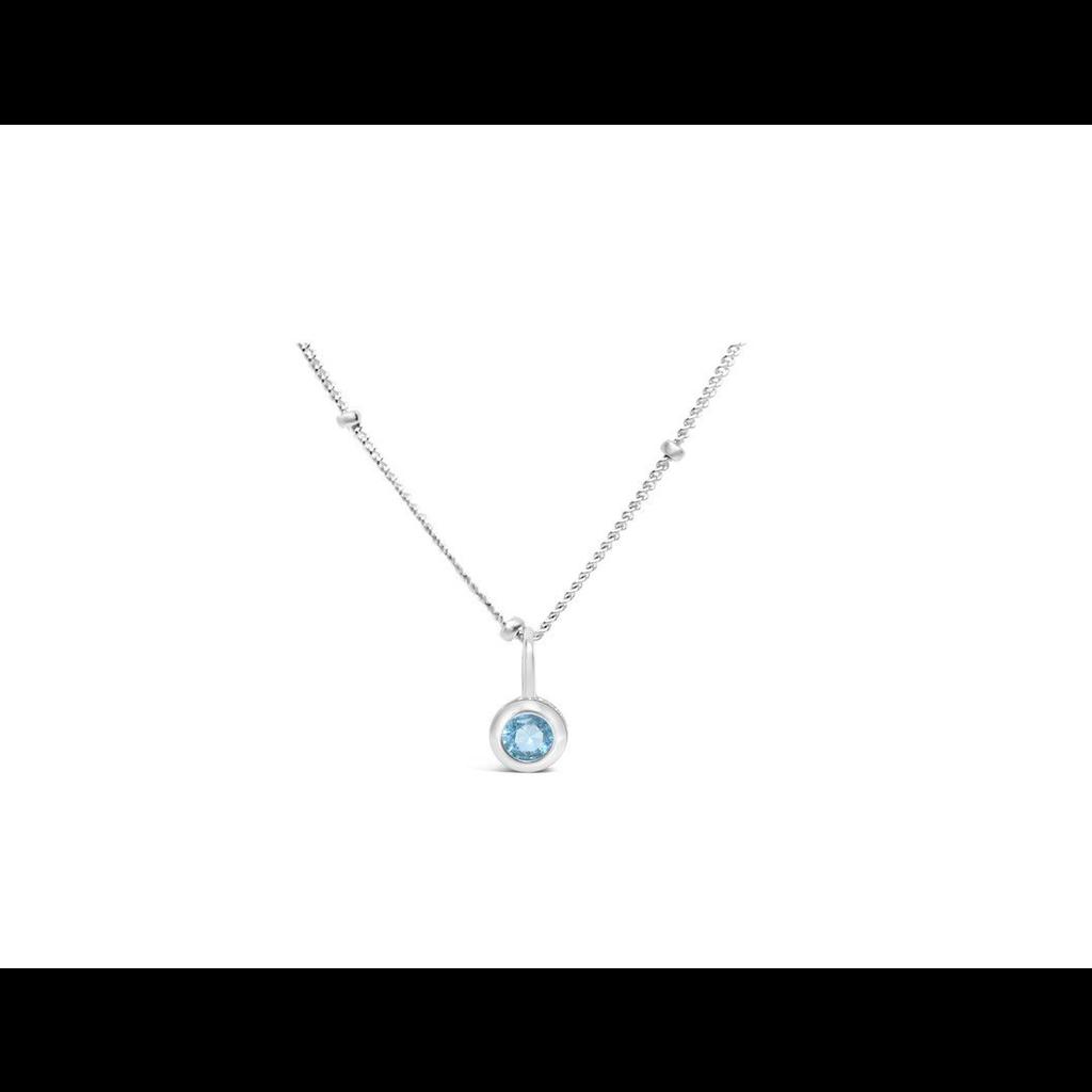 Stia Stia Jewelry CZ Bezel Necklace - Aquamarine/March