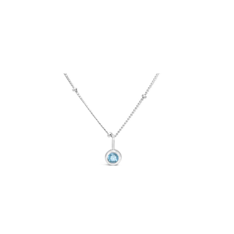 Stia Stia Jewelry CZ Bezel Necklace - Aquamarine/March