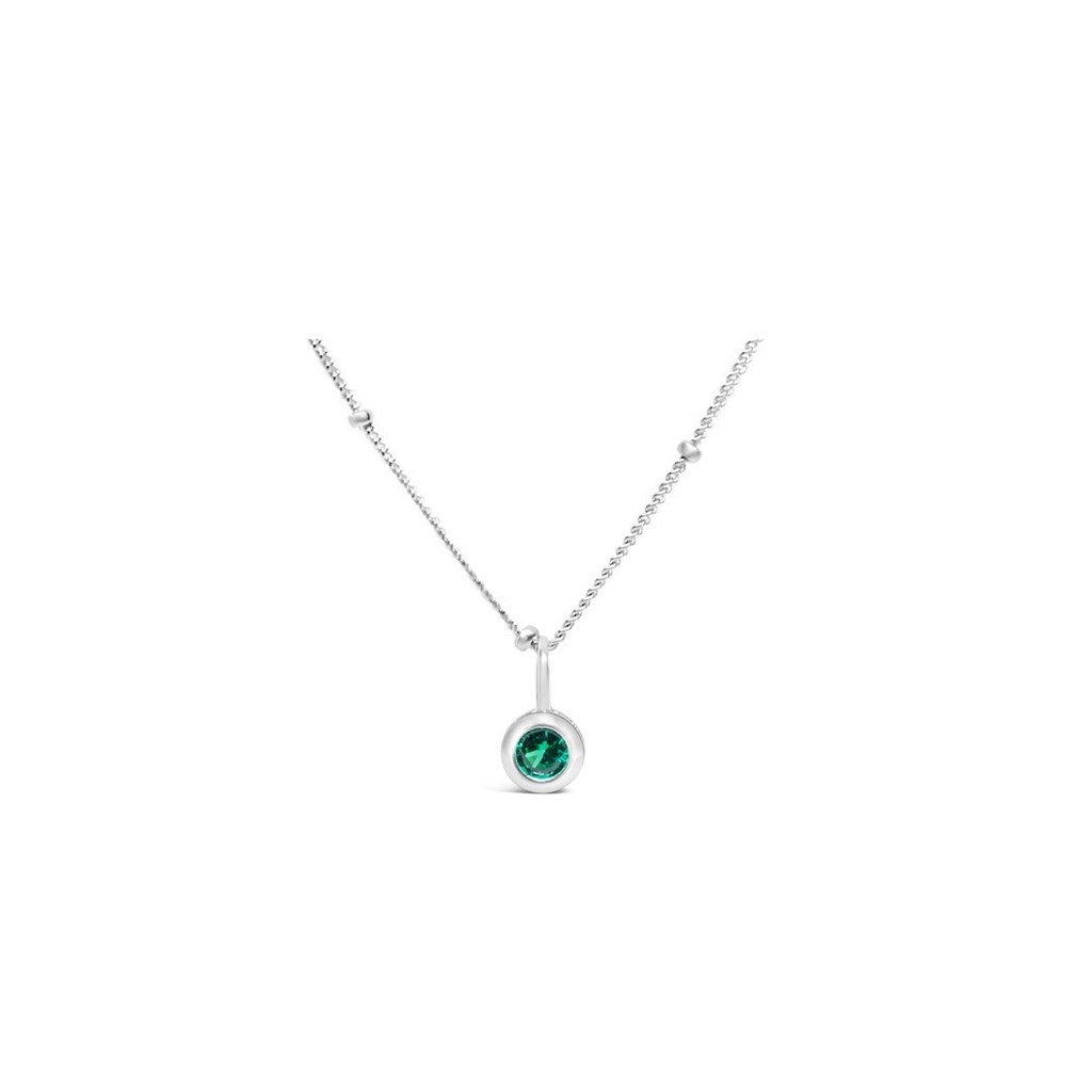 Stia Jewelry CZ Bezel Necklace - Emerald/May