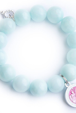 Aqua Jade Paired with a Pink Enameled St. Christopher